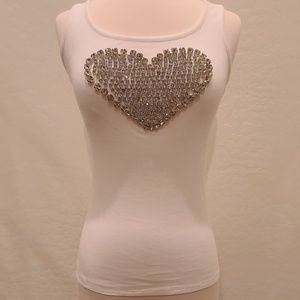INC Embellished Heart White Tank Top